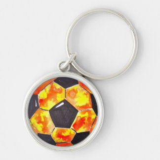 Soccer Star Silver-Colored Round Keychain