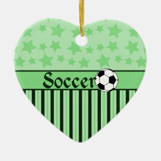 Soccer Star Stripes Green Ceramic Ornament