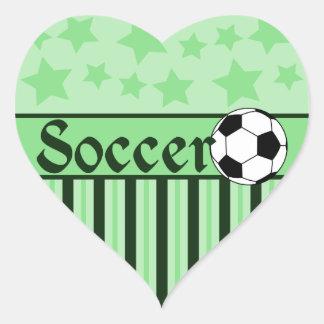 Soccer Star Stripes Green Heart Sticker