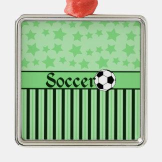 Soccer Star Stripes Green Metal Ornament