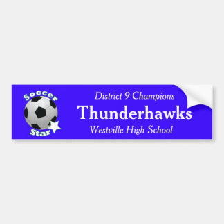Soccer Star with Team Information Bumper Sticker
