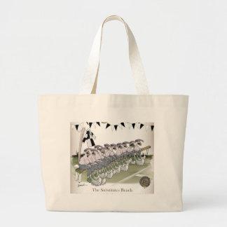 soccer substitutes black + white kit large tote bag