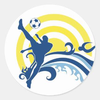 soccer summersetz. classic round sticker