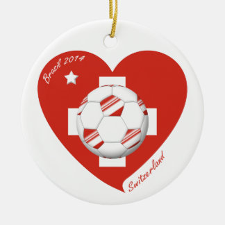 Soccer Switzerland SWITZERLAND National Soccer Tea Double-Sided Ceramic Round Christmas Ornament
