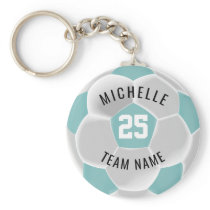 Soccer  - Teal and White Keychain