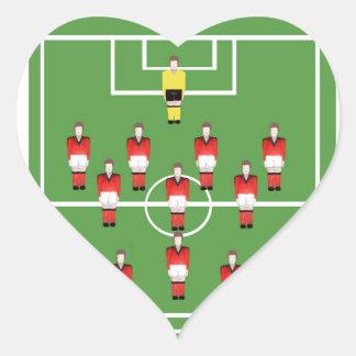 soccer team, football players heart sticker
