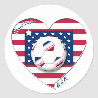 """Soccer Team """"U.S.A."""" Soccer of the United States Classic Round Sticker"""