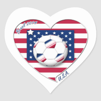 "Soccer Team ""U.S.A."" Soccer of the United States Heart Sticker"