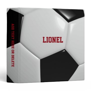Soccer Texture Personalized 3 Ring Binder