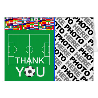 Soccer Thank You Add Photo Note Card 3