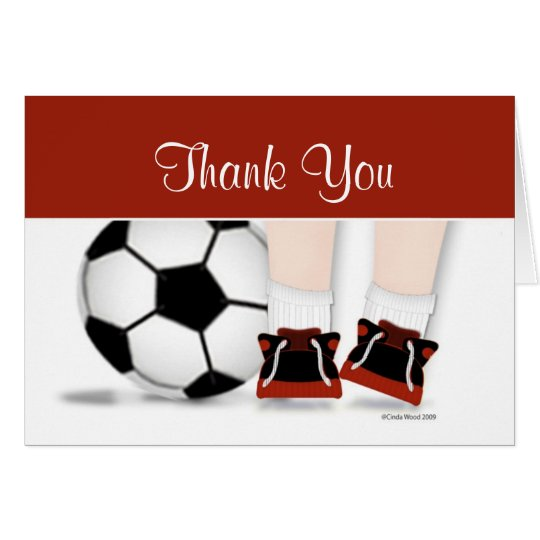 Soccer Thank You Card in Red