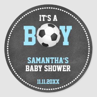 Soccer Theme Baby Shower Chalkboard Blue Boy Classic Round Sticker