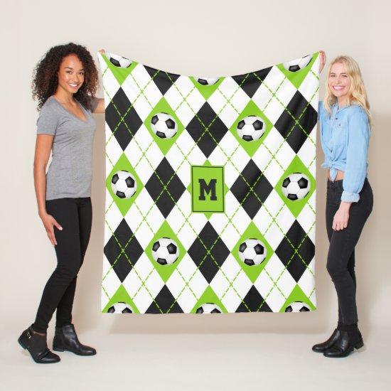 soccer themed lime black white argyle pattern fleece blanket