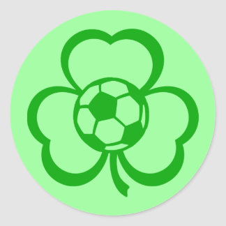 Soccer Three Leaf Clover for St. Patrick's Day Classic Round Sticker