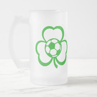 Soccer Three Leaf Clover for St. Patrick's Day Frosted Glass Beer Mug