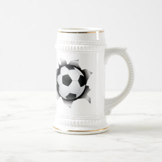 soccer thru metal sheet beer stein