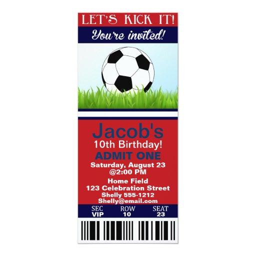 Soccer Ticket Birthday Invitation Customizable Zazzle