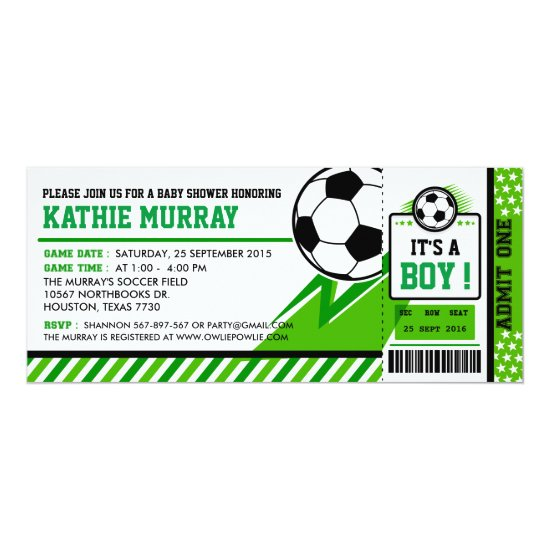 Soccer Ticket Pass Baby Shower Invitation