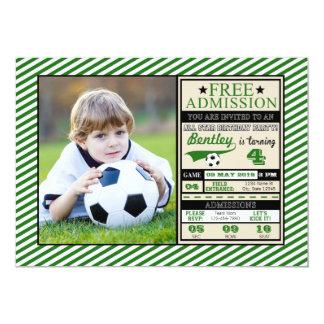 Soccer Ticket Photo Birthday Invitation