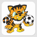 Soccer Tiger Square Stickers