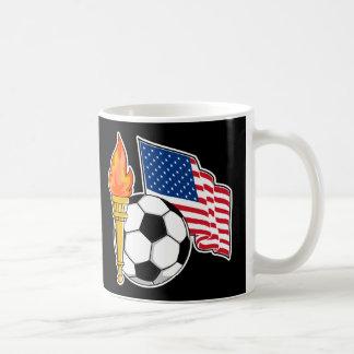 Soccer Torch USA Yello Flag Black Coffee Mug
