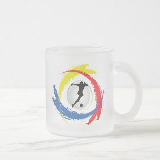 Soccer Tricolor Emblem Frosted Glass Coffee Mug