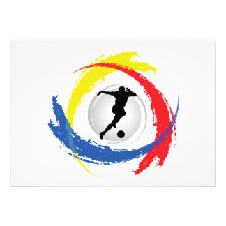 Soccer Tricolor Emblem Personalized Invitation