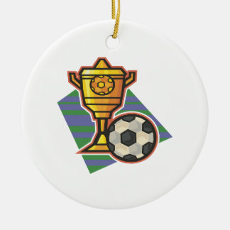 Soccer Trophy Ceramic Ornament