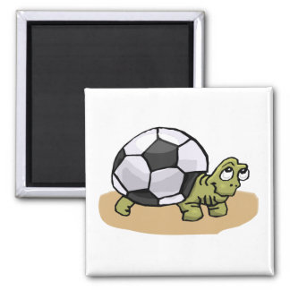 Soccer Turtle 2 Inch Square Magnet