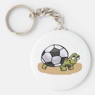 Soccer Turtle Basic Round Button Keychain