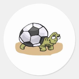 Soccer Turtle Round Stickers