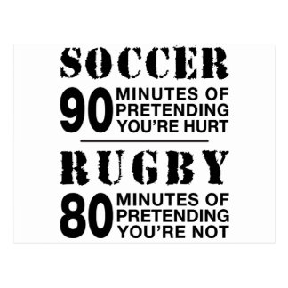 Soccer Vs Rubgy Postcard
