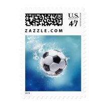 Soccer Water Splash Postage Stamp