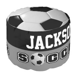 Soccer White and Black Sport Pattern Pouf