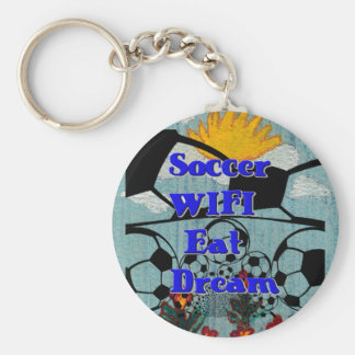 Soccer WIFI Eat Dream Repeat. Basic Round Button Keychain