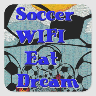 Soccer WIFI Eat Dream Repeat. Square Sticker