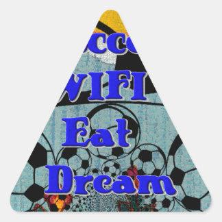 Soccer WIFI Eat Dream Repeat. Triangle Sticker