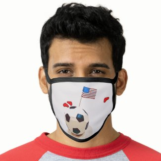 Soccer with flag of America USA with love Face Mask