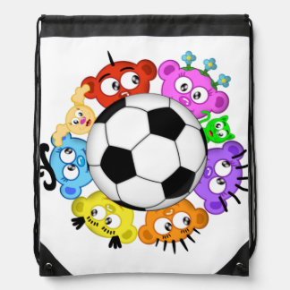 soccer with The Peek-A-Boo Crew Drawstring Bag