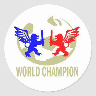SOCCER WORLD CHAMPION LIONS CLASSIC ROUND STICKER