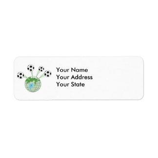 soccer world worldwide graphic return address label