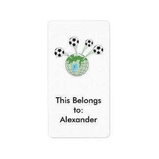 soccer world worldwide graphic address label