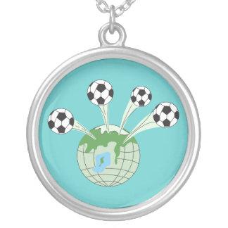 soccer world worldwide graphic round pendant necklace