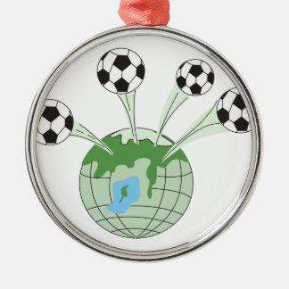 soccer world worldwide graphic round metal christmas ornament