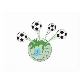 soccer world worldwide graphic postcard