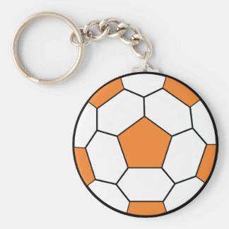soccerball-orange basic round button keychain