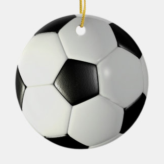 Soccerball Double-Sided Ceramic Round Christmas Ornament