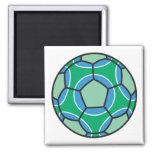soccerball verde y azul imán de nevera