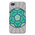 soccerball verde y azul iPhone 4 funda
