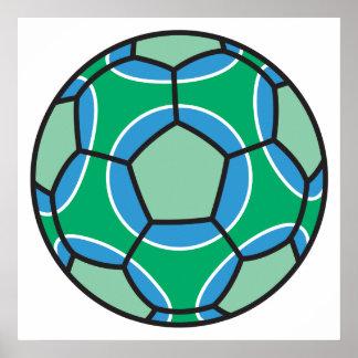 soccerball verde y azul póster